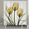 Laural Home X-Ray Gold Tulip Bouquet Shower Curtain
