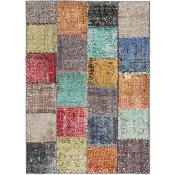ecarpetgallery Color Transition Patch Grey/ Green Wool Rug (5'7 x 7'9)
