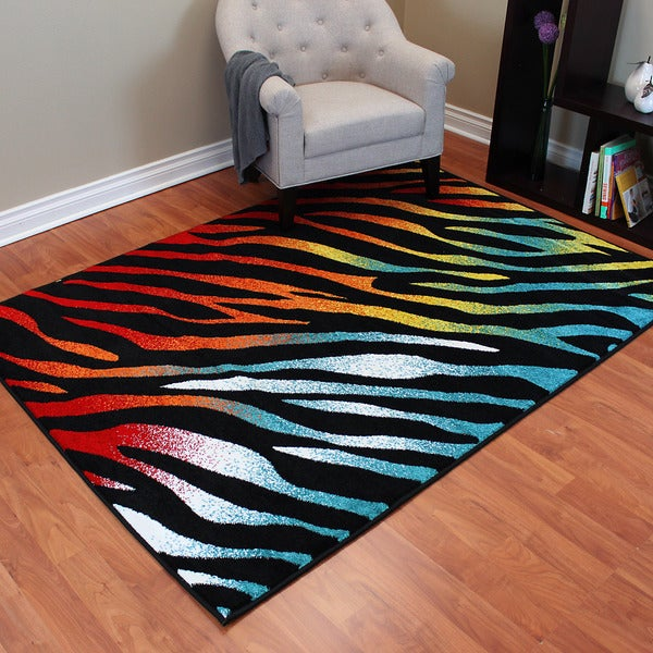 Rainbow 909 Black/ Multi Animal Print Design Area Rug (5' x 7')