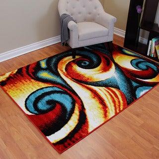Rainbow 901 Multi-colored Abstract Swirl Design Area Rug (5' x 7')