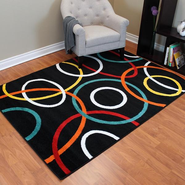 Rainbow 904 Black/ Multi Circle Design Area Rug (5' x 7')