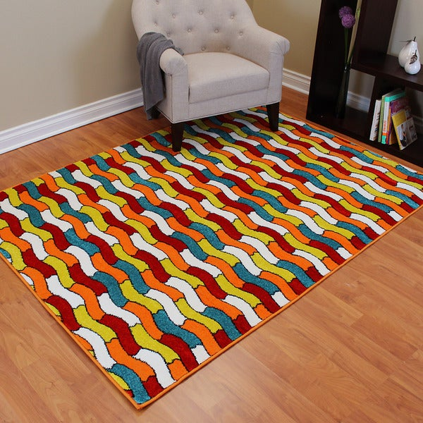 Rainbow 905 Multi-colored Tile Pattern Design Area Rug (5' x 7')