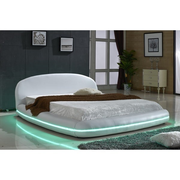 White Leather with Flexible LED Decoration Strip Light Contemporary Platform Bed