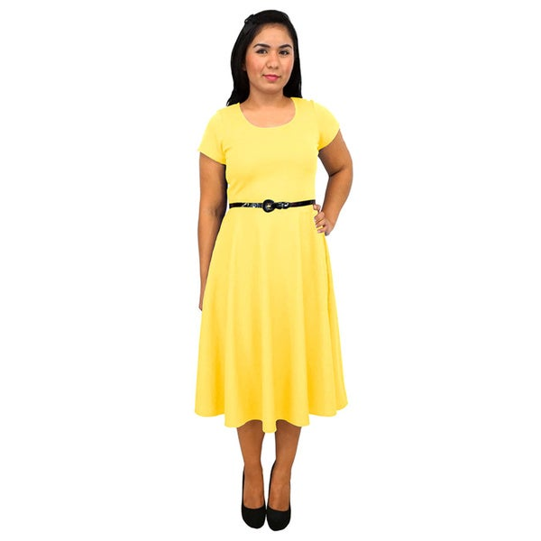 Women's Short-Sleeve Scoop Neck Yellow Polyester Dress