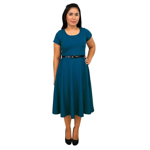 Women's Short Sleeve Scoop Neck Teal A-line Dress