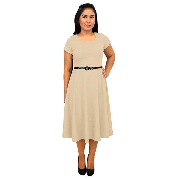 Women's Short-Sleeve Scoop Neck Taupe Polyester Dress
