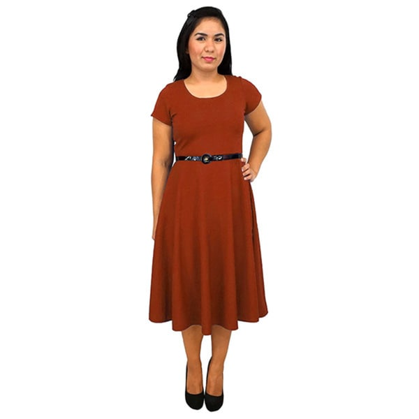 Women's Short-Sleeve Scoop Neck Orange Rust Polyester Dress