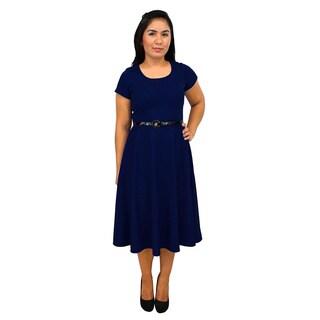 Women's Short Sleeve Scoop Neck Navy Blue A-line Dress