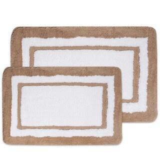 Luxury Plush Bordered White/ Linen Bath Rug with Non Skid Backing Set or Separates