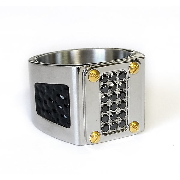 Mens Stainless Steel Stingray & Gold Screw Ring