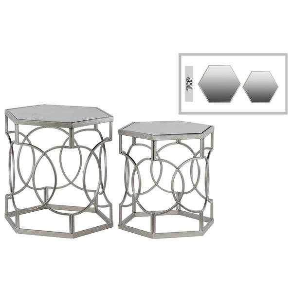 Metal Hexagonal Nesting Table with Mirror Top and Hexagonal Base Set of Two Metallic Finish Silver