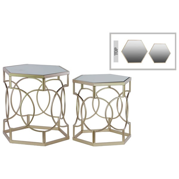 Metal Hexagonal Nesting Table with Mirror Top and Hexagonal Base Set of Two Metallic Finish Champagne