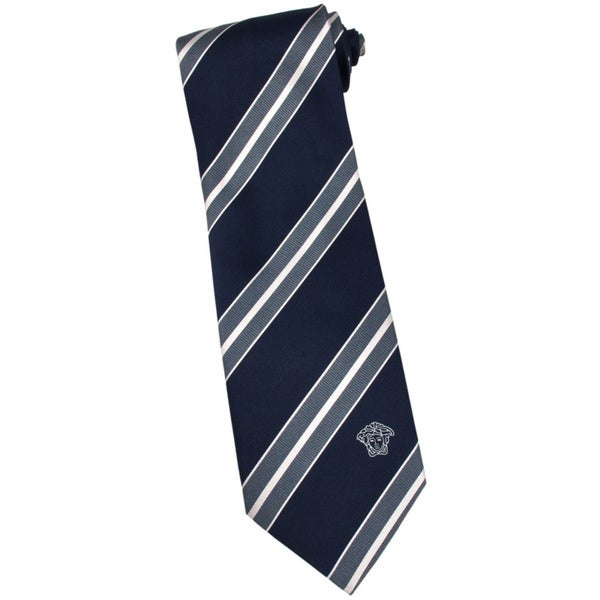 Versace 100-percent Italian Silk Black/ Grey Stripe Neck Tie