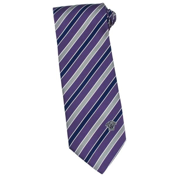 Versace 100-percent Italian Silk Purple Navy Stripe Neck Tie