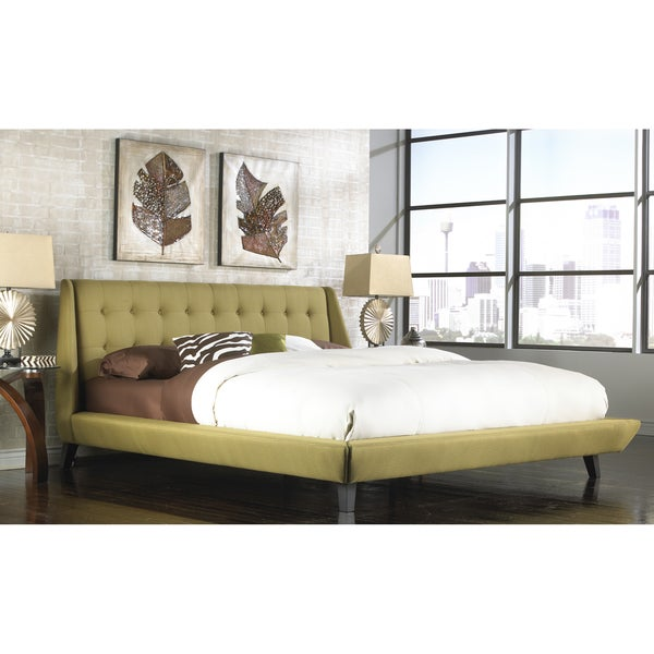 Fashion Bed Group B7165 Prelude Complete Platform Bed with Button-Tuft Headboard and Upholstered Exterior, Willow Finish