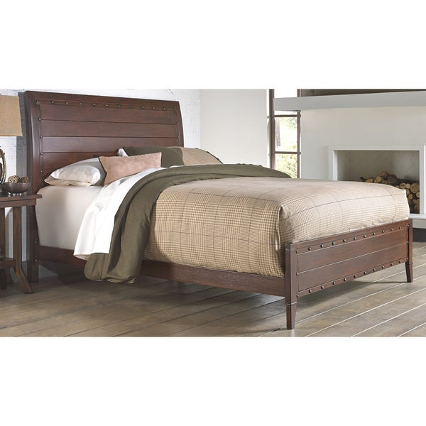 Fashion Bed Group B1156 Rockland Platform Bed with Metal Sleigh Headboard and Wood Appearance Design, Brandy Finish