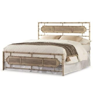 Fashion Bed Group B4153 Laughlin Snap Desert Sand Bed with Natural Wood Inspired Panels and Folding Metal Side Rails
