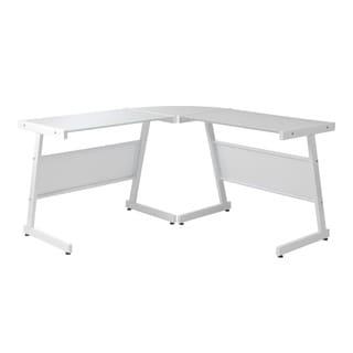 Luigi L Desk - White/Pure White Glass