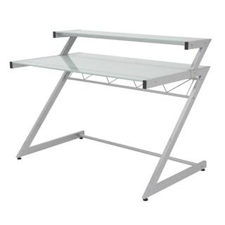 Aluminum/Frosted Glass Z Deluxe Desk Medium + Shelf