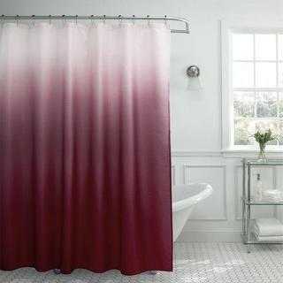 "Modern Ombre Waffle Weave Shower Curtain with Matching Metal Roller Rings - 70""x72"""