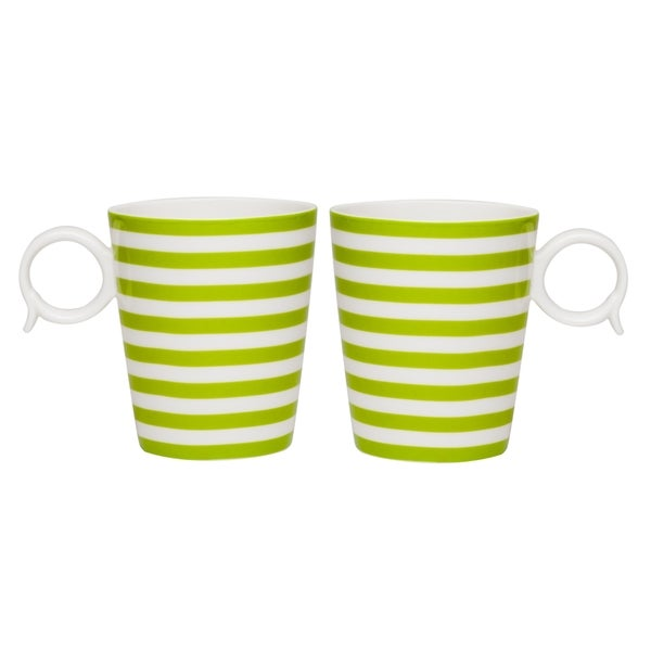 Red Vanilla Freshness Lines Olive Mug 12 oz Set / 2