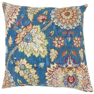 Revonda Floral Linen Down and Feather Filled 18-inch Throw Pillow