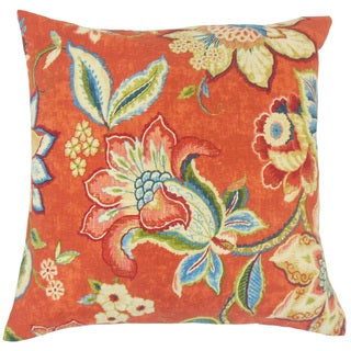 Qimat Floral Linen Down and Feather Filled 18-inch Throw Pillow
