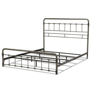 Fashion Bed Group B4118 Fremont Snap Bed with Rounded Edge Panels and Folding Metal Side Rails, Weathered Nickel Finish