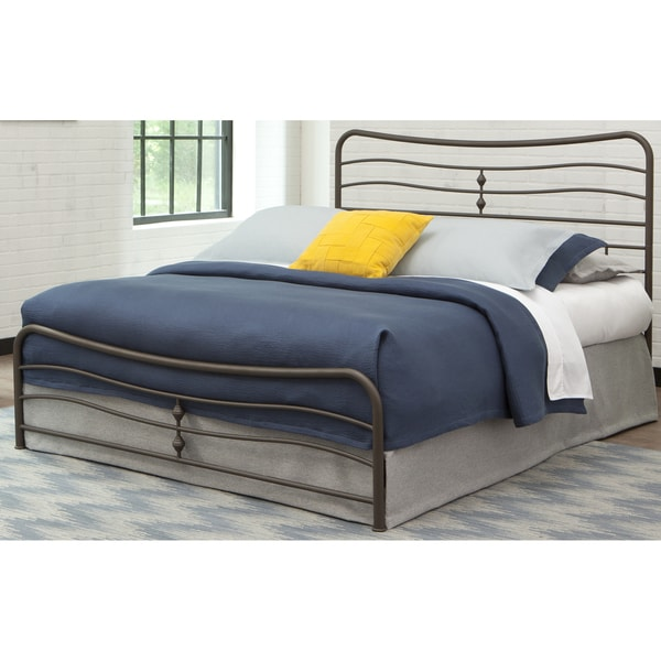Fashion Bed Group B4125 Cosmos Snap Bed with Flowing Curves Panel Design and Folding Metal Side Rails, Coffee Finish