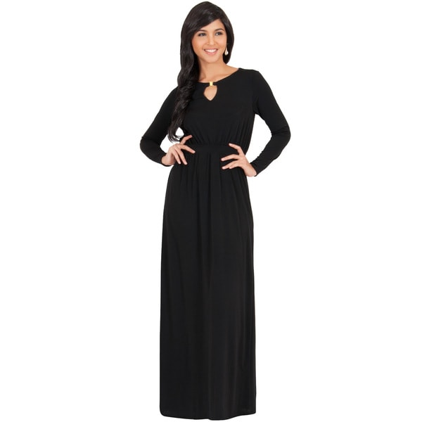 KOH KOH Women's Long Sleeve Key Hole Slimming Elegant Maxi Dress
