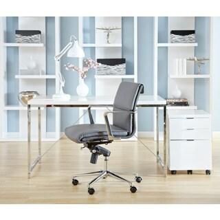 Gilbert Desk - White Lacquer/Chrome