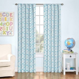 Zane Houndstooth Blackout Window 84-Inch Curtain Panel