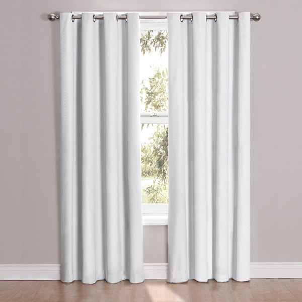 "Cassidy Blackout Grommet Window Curtain Panel 84"" in White (As Is Item)"