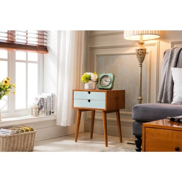 Porthos Home Ravel Mid-Century Double-Drawer Walnut Side Table