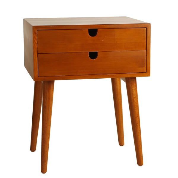 Ravel Mid-Century Double-Drawer Walnut Side Table