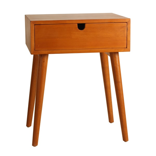 Porthos Home Holland Mid-Century 1-Drawer Walnut Side Table