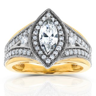 Annello 14k Two-Tone Gold 1ct TDW Marquise Diamond Ring (H-I, I1-I2)