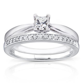 Annello 14k White Gold 1/3ct TDW Princess Solitaire and Pave Band Diamond Bridal Rings Set (H-I, I1-I2)