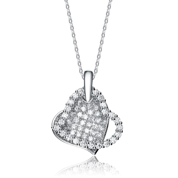Collette Z Sterling Silver White Cubic Zirconia Stones Hearts Pendant