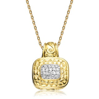 Collette Z Sterling Silver White Cubic Zirconia Gold Plated Pendant