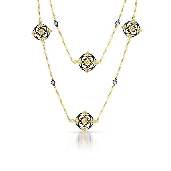 Collette Z Sterling Silver Flower Design Double Necklace