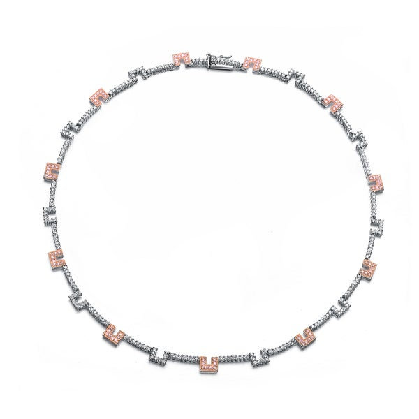 Collette Z Sterling Silver Pink & Blue Coloured Gaps Necklace