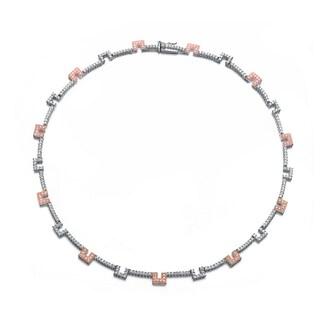 Collette Z Sterling Silver Pink & Blue Coloured Gaps Necklace
