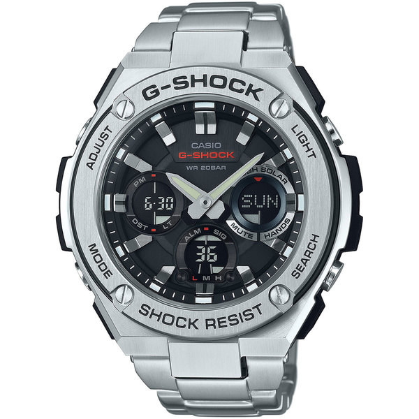 Casio G-Shock Men's GSTS110D-1A Analog-Digital Dial Stainless Steel Bracelet Watch