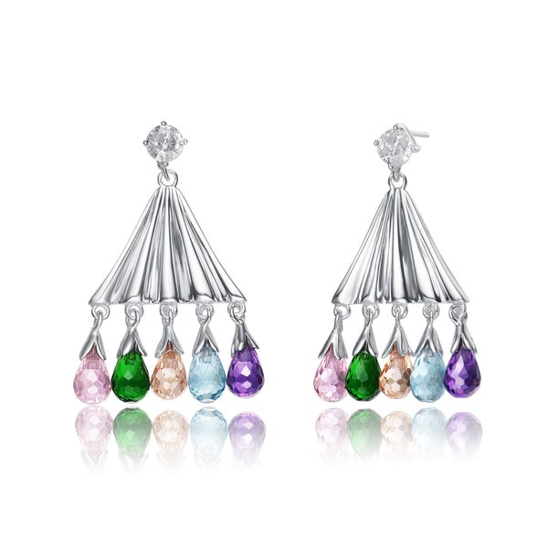 Collette Z Sterling Silver Multi-Coloured Cubic Zirconia Stones Dangling Earrings