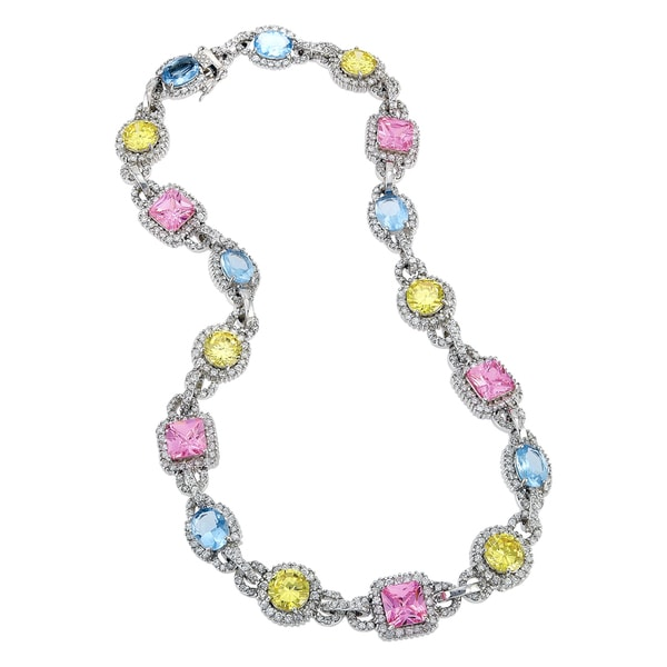 Collette Z Sterling Silver Multi-Coloured Cubic Zirconia Necklace