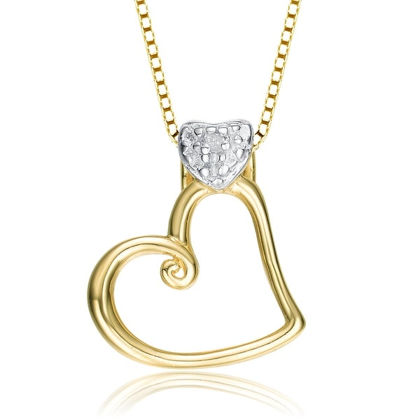 Collette Z Sterling Silver Mini Cubic Zirconia Heart Band Pendant