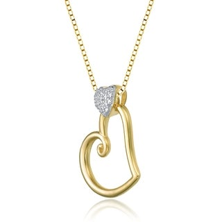 Collette Z Sterling Silver Mini White Cubic Zirconia Gold Heart Pendant