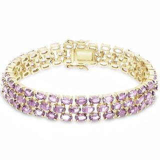 Dolce Giavonna Gold Over Sterling Silver Gemstone Three Strand Bracelet