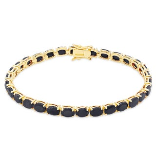 Dolce Giavonna Gold Over Sterling Silver Sapphire Tennis Bracelet